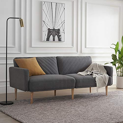 Mopio Chloe Convertible Futon Couch Bed, Fabric Tufted Modern Sofa Sleeper with Tapered Wood Legs, 76.8' L, Perfect Suit for Your Living Room, Dark Gray