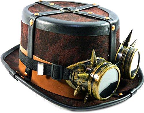TrendandStylez Steampunk Hut Zylinder Braun mit Brille und Lederriehmen