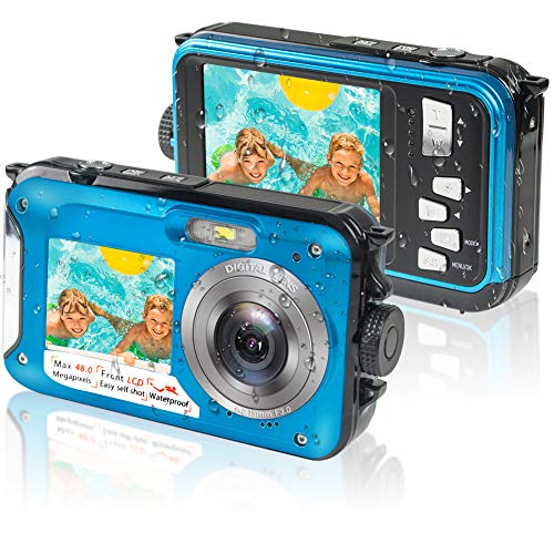 Underwater Camera, Waterproof Camera Full HD 2.7K 48MP Waterproof Camera Digital with Dual Screen, 16X Digital Zoom and Self-Timer