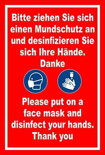 Melis Folienwerkstatt Aufkleber Mundschutz 2-sprachig 30x20cm – 20 VAR S00225-053-D