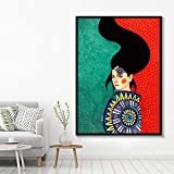 NIMCG Art Abstract Character Character Colorful Canvas Poster Print Art Deco Picture for Living Room Bedroom (sin Marco) A1 50x70CM