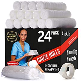 Premium Gauze Bandage Roll - 24 Pack - Gauze Roll (4 inches x 4.1 Yards) - Gauze Wrap + Bonus Medical Tape 2 ✅ HIGHLY-EFFICIENT DRESSING – Elastic Mighty-X rolled gauze stays in place snugly to prevent slippage and irritation. Unique soft micro-weave is designed to allow for a comfortable stretch that keeps the dressing tight. One 4-yard gauze wrap roll is enough to wrap most injuries. Use the included medical tape roll to affix the loose end. ✅ HYGIENIC PROTECTION – Each gauze bandage roll comes individually wrapped to keep it debris-free until you are ready to use it. These medical gauze rolls keep your sores clean and hygienic, providing essential conditions for quick healing. The breathable material helps to aerate injured areas and prevents irritation for a quicker recovery. ✅ EASY TO APPLY AND REMOVE – Our latex-free white gauze is produced from a high-grade cotton-elastic material that is easier to apply than traditional gauze and provides a lint-free healing process. It helps to prevent stray cotton strands from sticking to the sore and provides a pain-free dressing change.