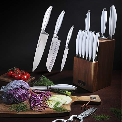 Kurschmann 15-Piece Kitchen Knife Set in Upright Acacia Block, White Handles with Stainless Steel Chef's Knife, 6 Steak Knives + Santoku, Bread, Carving, Paring, & Utility Knife + Scissors & Sharpener