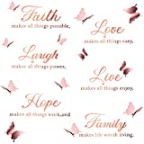 6 Pieces Faith Hope Love Laugh Family Live Wall Decal Sticker Motivational Wall Decal Sticker with 12 Pieces 3D Butterfly Decal Inspirational Quotes Sticker Set for Home Office Decor (Rose Gold)