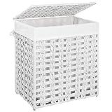 SONGMICS Wäschekorb handgeflochten, Wäschesammler aus Polyrattan, Wäschesack herausnehmbar, mit Deckel, Metallgestell, Aufbewahrungskorb, 45,5 x 32 x 51,5 cm, Wohnzimmer, weiß LCB050W01