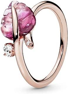 PANDORA Pink Murano Glass Leaf PANDORA Rose Ring