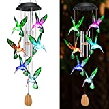 OUTUL Wind Chimes Outdoors LED Solar Hummingbird Wind Chime for Windows, Yard, Patio, Porch, Garden, Backyard, Memorial Wind Chimes Gifts for Mom Grandma