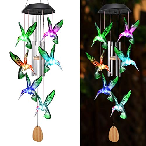 OUTUL Wind Chimes Outdoors LED Solar Hummingbird Wind Chime for Windows Yard Patio Porch Garden Backyard Memorial Wind Chimes Gifts for Mom Grandma