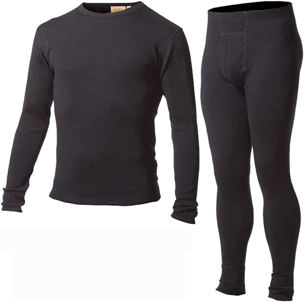 Men's Merino Wool Winter Base Layer,Thermal Warm Sweater Underwear,Breathable Mid Weight Tops Pants Bottom Set
