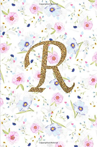 R. Monogram Initial R Cover. Blank Lined Journal Notebook Planner Diary.
