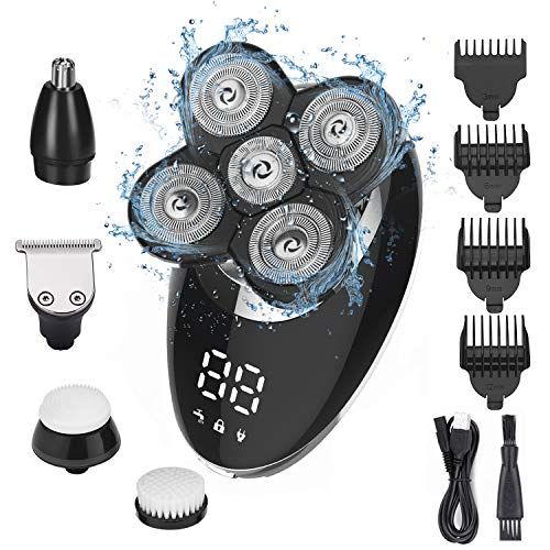 Ehpow Electric Shavers for Men Bald Head Shaver LED Display Rechargeable Electric Rotary Shaver 5 in 1 Head Shavers rooming Kit with Clipper Nose Hair Sideburns Trimmer Facial Clean and Waterproof