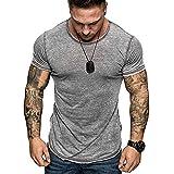 YSYOkow Camisetas de manga corta para hombre, estilo casual, gimnasio, entrenamiento muscular, ajuste delgado, camiseta