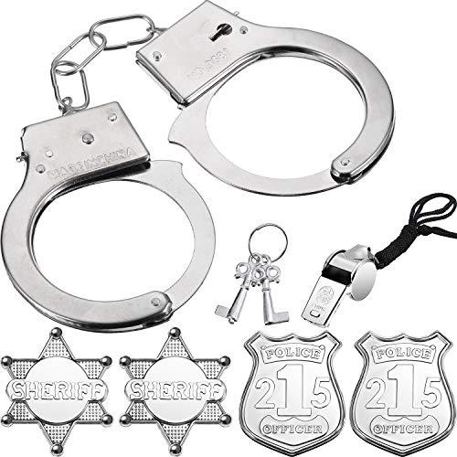 Boao Juego de 1 Pack de Esposas de Metal, 1 Pack Silbato y 4 Piezas de Insignia de Policía de Plástico, Disfraz de Policía, Set de Escenario o Regalo y Favores de Fiesta Apoyos de Disfraz