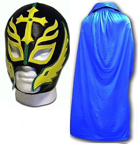 Sohn von der Teufel Caribe Erwachsene Luchador Mexikanisch Wrestling Maske W/ Blau Umhang