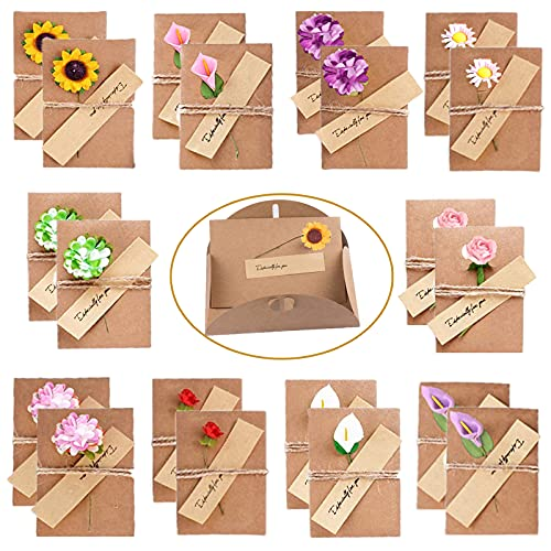 20 tarjetas de felicitación sobres retro de papel kraft con flores secas...