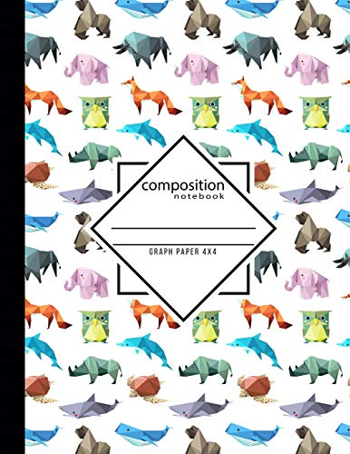 Composition Notebook Graph Paper 4x4: Origami School Teacher, Students and Office Administrators Writing Book for Math, Science & Design Class