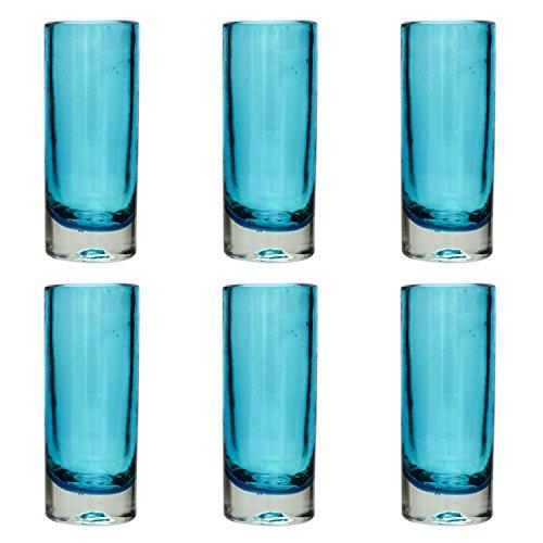 Verre à shot ou à Téquila artisanal - Verre recyclé – Turquoise - Par 6 pièces