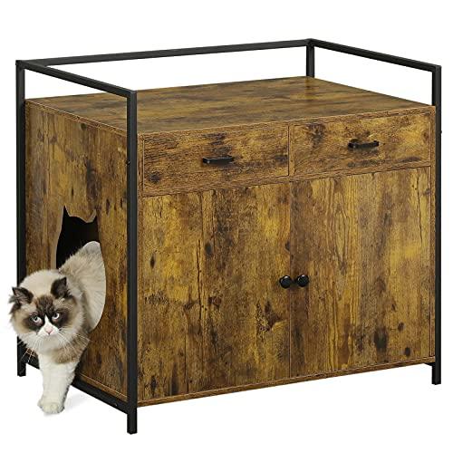 MSmask Katzenhaus für Katzenbett oder Katzentoilette, Großer Katzenwaschraum mit Schublade, Versteckte Katzentoilette Möbel, Nachttisch Aufbewahrung (Braun)