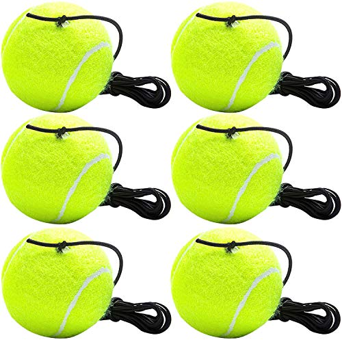 Cotiny 6 Pack Tennis Trainer Ball with String Tennis Ball with Elastic Rope Training Tool for Single Tennis Player Outdoor Indoor Sport