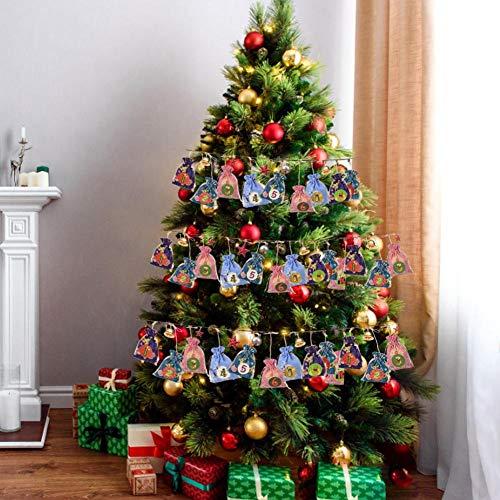 Motto.H - Calendario de Adviento 24 DIY Calendario de Adviento, 24 Bolsas de Papel con Pegatinas, 24 Pinzas de Madera, Cuerda de Lino, 10 m, diseño de Navidad