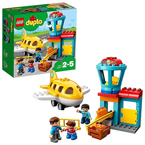 LEGO 10871 DUPLO Town Airport Building Bricks Set with Aeroplane Toy for Kids Age 2-5