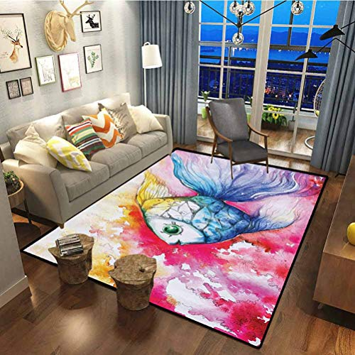 Ocean Animal Decor Polyester Non Slip Carpet Durable Low-Profile Easy to Clean Watercolor Fish Paint with Grunge Vivid Brushstroke Splashes Nautical Concept Multi 6.5 x 5 ft