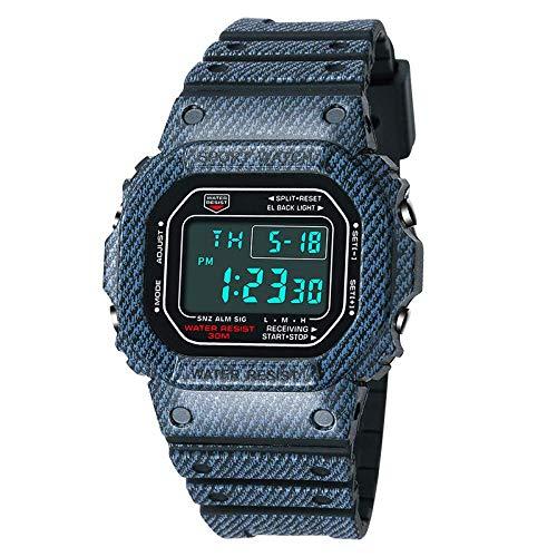 SXXYTCWL Varón y Hembra los Estudiantes Relojes electrónicos Nueva Denim Patrón Impermeable de los Deportes Relojes Relojes de los Pares jianyou (Color : Denim Pattern Black Women)