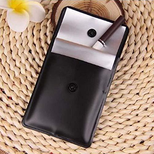 Cenicero portátil de PVC de 75 x 80 mm, color blanco y negro, con bolsillo para fumar tabaco, cenizas, accesorio de viaje, color negro