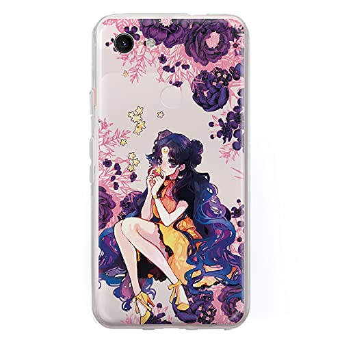 Anime Pixel Case Sailor Moon for Google Pixel 5 4a 5G 4 3 3a XL 4xl 3axl 2XL 3XL 2 XL LG G5 G6 G8 Floral Pink Flowers Phone Case for Women Girls Gifts Silicone TPU Clear Cover