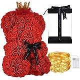 LEO AND GIO Oso de Rose Oso de Rosas, 25 cm (Rojo Classic, con LED)