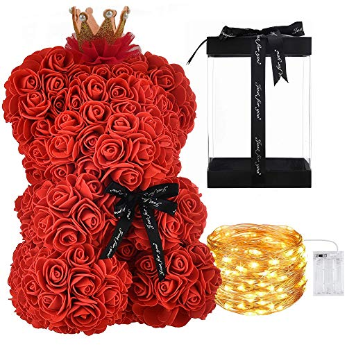Orso di Rose Orsetto di Rosa Orsacchiotto di Rosà Altezza 25 cm Teddy Bear Rosse Idea Regalo Regali per Lei Fidanzata Compleanno Mamma Anniversario San Valentino (Con LED, Rosso Classic)