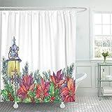 COFEIYISI Duschvorhänge Girlande mit einem Weihnachtsbaum Holly Poinsettia Laterne Aquarell lokalisiert auf weißem Vintage Boho Wasserdicht Bad Vorhang Polyester Stoff mit 12 Haken 180x180 cm