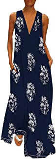 Dubocu Women Maxi Dress Sleeveless V Neck Vintage Print Summer Loose Swing Casual Party Evening Gown Beach Dress With Pockets(Y12-Dark Blue,3XL)