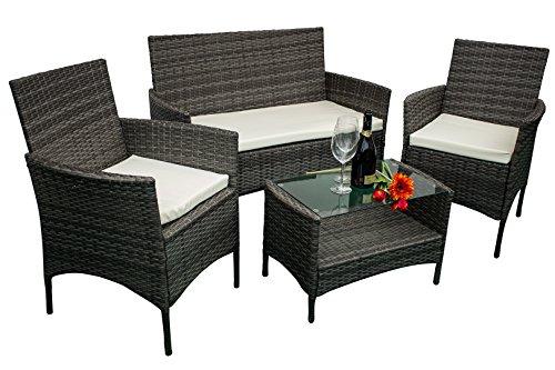 AVANTI TRENDSTORE - Andria - Set di mobili da Giardino in ecorattan, 2 poltrone Singole, 1 Poltrona a 2 posti e 1 Tavolo
