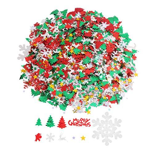 Toyvian Weihnachten Konfetti sortierte Schneeflocke Santa Elch Tisch streuen helle Weihnachtsdekoration für festlichen Urlaub Hochzeit Geburtstagsfeier 100g (gemischte 10 Muster)