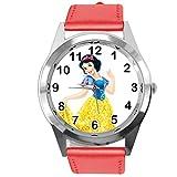 TAPORT® Reloj de Cuarzo con Correa de Piel roja Redonda para los Fans de la Princesa Blancanieves