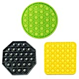 NUENUN Bubble Sensory Square Fidget Toy Stress Reliever Autism Toy for The Old and The Young (Octagonal Black + Round Green + Square Yellow)