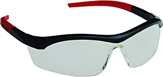 UVEX Tornado F5 Anti-Fog, Anti-Static, Scratch-Resistant Safety Glasses , Indoor/Outdoor Lens Color, Black Frame, Red Stems