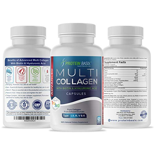 Multi Collagen Powder Capsules- Hair Skin & Nail Formula. 5 Types of Collagen + Vitamin C Collagen Booster. with Biotin, Hyaluronic Acid & Silica. Supports Healthy Hair, Skin, Nails & Joints