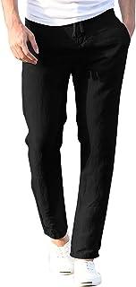 Halfword Men Linen Trouser Casual Elastic WAIS Drawstring Lightweight Yoga Home Pants