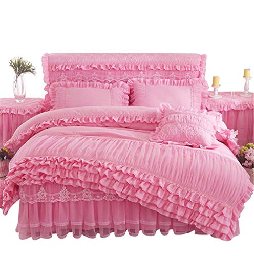 Lotus Karen Romantic Solid Color Lace Ruffles Korean Princess Bedding Sets Cheap Thick Brushed Cotton Girls Duvet Cover Sets,1Duvet Cover,1Bedskirt,2Pillowcases