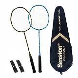 Senston Badminton Set Haute Qualité supérieur Raquettes de Badminton Pleine Carbone Raquettes Bonne stabilité 2 Raquette and 2 surgrips