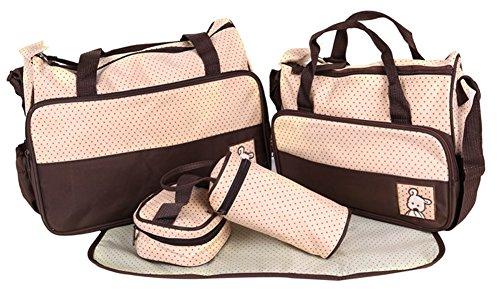 LATH.PIN 5teiliges Bär Baby Pflegetasche Wickeltaschen Messenger Bag Wickeltaschen Set Umhängetasche Mama Handtasche mit viel Stauraum Geschenk