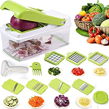 Onion Chopper, Vegetable Chopper Dicer Slicer Cutter Grater with Seven Interchangeable Stainless Blades Julienne Slicer Crisper Food Container Peeler Slicer For Kitchen Fruit and Vegetable Cutter