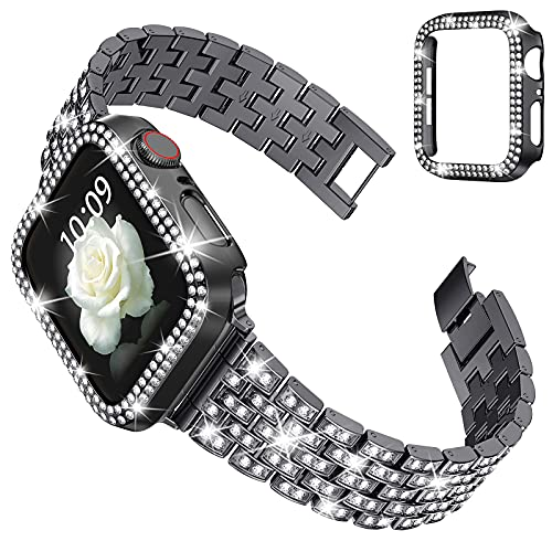 wlooo Glitter Correa + Diamante Funda para Apple Watch 44mm 42mm 40mm 38mm, Bling Pulsera Hombres Mujeres Cristal Rhinestone Metal Inoxidable Correa de Repuesto para iWatch Serie SE 6 5 4 3 2