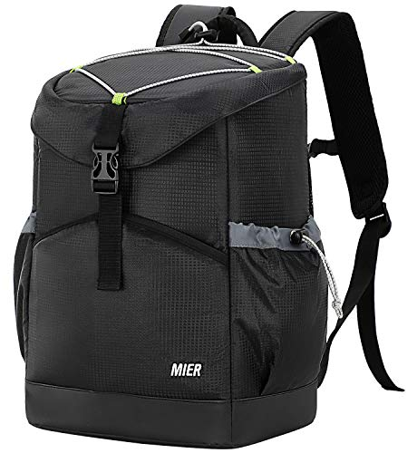 MIER Insulated Leakproof Cooler Backpack Bag Large Capacity Stylish Picnic Lunch Cooler for Men, Women, 30 Can, Black