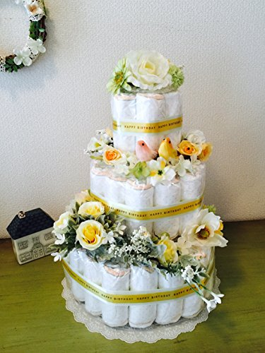 おむつケーキ3段 (パンパースM, イエロー) Happy Bird 豪華で上品な出産祝い