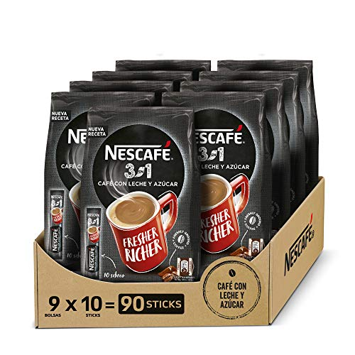 NESCAFÉ 3 EN 1, café soluble natural con leche y