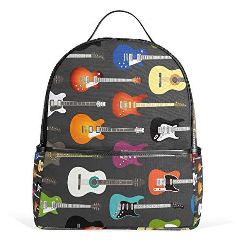 Mochila Color Guitarras acústicas y eléctricas Fondo Lienzo Ligero Bolsa de Libros Escolares para niños y niñas