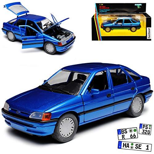 Schabak Ford Escort Schrägheck 5 Türer Blau Metallic 5. Generation 1990-2000 1/24 Modell Auto mit individiuellem Wunschkennzeichen